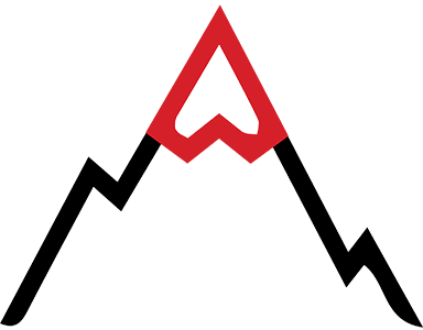 rough terrain icon - mountain with a red top
